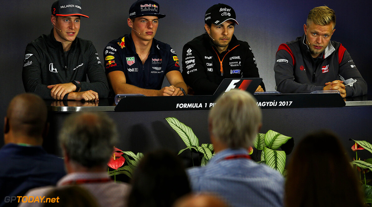 Formula One World Championship (L to R): Stoffel Vandoorne (BEL) McLaren; Max Verstappen (NLD) Red Bull Racing; Sergio Perez (MEX) Sahara Force India F1; and Kevin Magnussen (DEN) Haas F1 Team, in the FIA Press Conference. Hungarian Grand Prix, Thursday 27th July 2017. Budapest, Hungary. Motor Racing - Formula One World Championship - Hungarian Grand Prix - Preparation Day - Budapest, Hungary James Moy Photography Budapest Hungary  Formula One Formula 1 F1 GP Grand Prix Circuit Hungaroring Hungarian Budapest Hungary JM739 Sergio P?rez Sergio P?rez Mendoza Checo Perez Checo P?rez Press Conference Portrait GP1711a GP1711a_M