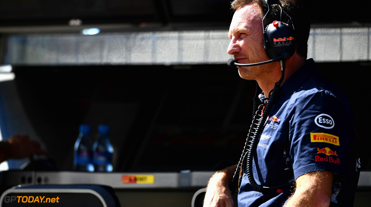 BUDAPEST, HUNGARY - JULY 28:  Red Bull Racing Team Principal Christian Horner looks on from the pit wall during practice for the Formula One Grand Prix of Hungary at Hungaroring on July 28, 2017 in Budapest, Hungary.  (Photo by Dan Mullan/Getty Images) // Getty Images / Red Bull Content Pool  // P-20170728-00535 // Usage for editorial use only // Please go to www.redbullcontentpool.com for further information. //  F1 Grand Prix of Hungary - Practice Dan Mullan Budapest Hungary  P-20170728-00535