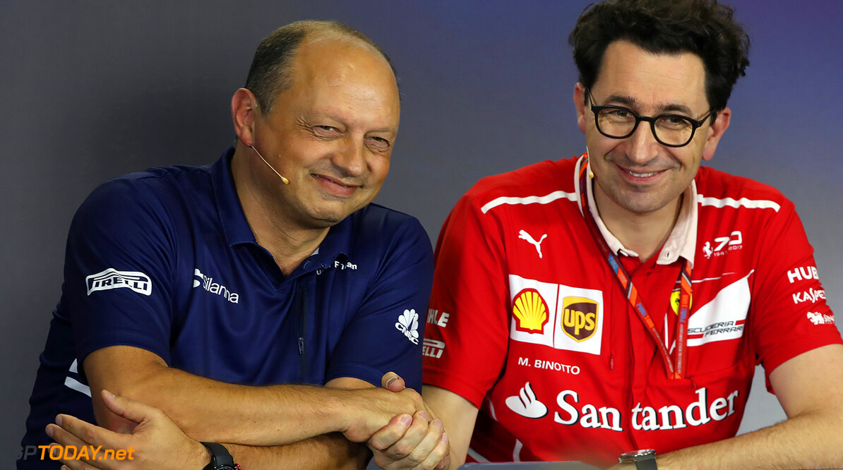 Hungarian GP Friday 28/07/17 Mattia Binotto (ITA), Scuderia Ferrari Technical Director.  Frederic Vasseur (FRA) Managing Director & CEO of Sauber Motorsport AG, Team Principal of the Sauber F1 Team. Hungaroring Circuit.  Hungarian GP Friday 28/07/17 Jad Sherif                       Budapest Hungary  F1 Formula 1 One 2017 Fr?d?ric Vasseur Binotto