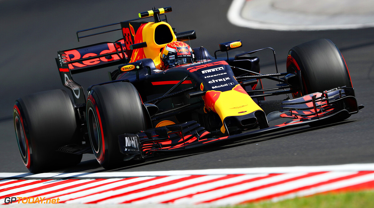 BUDAPEST, HUNGARY - JULY 28: Max Verstappen of the Netherlands driving the (33) Red Bull Racing Red Bull-TAG Heuer RB13 TAG Heuer on track during practice for the Formula One Grand Prix of Hungary at Hungaroring on July 28, 2017 in Budapest, Hungary.  (Photo by Mark Thompson/Getty Images) // Getty Images / Red Bull Content Pool  // P-20170728-01747 // Usage for editorial use only // Please go to www.redbullcontentpool.com for further information. //  F1 Grand Prix of Hungary - Practice  Budapest Hungary  P-20170728-01747