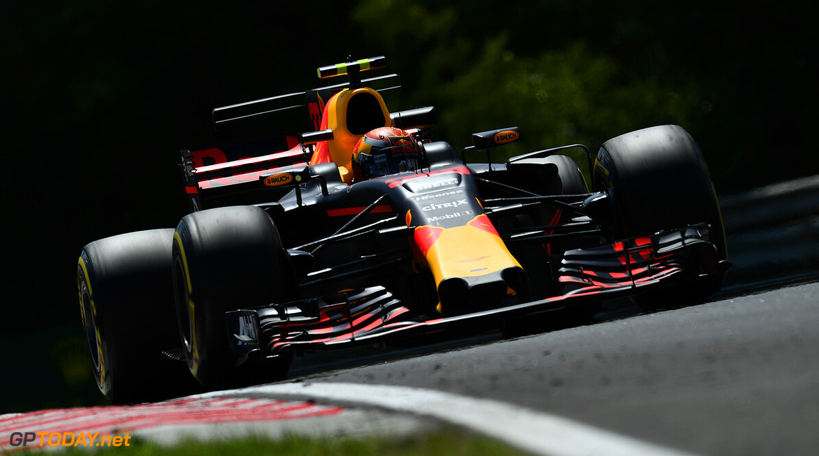 BUDAPEST, HUNGARY - JULY 28: Max Verstappen of the Netherlands driving the (33) Red Bull Racing Red Bull-TAG Heuer RB13 TAG Heuer on track during practice for the Formula One Grand Prix of Hungary at Hungaroring on July 28, 2017 in Budapest, Hungary.  (Photo by Dan Mullan/Getty Images) // Getty Images / Red Bull Content Pool  // P-20170728-01981 // Usage for editorial use only // Please go to www.redbullcontentpool.com for further information. //  F1 Grand Prix of Hungary - Practice Dan Mullan Budapest Hungary  P-20170728-01981