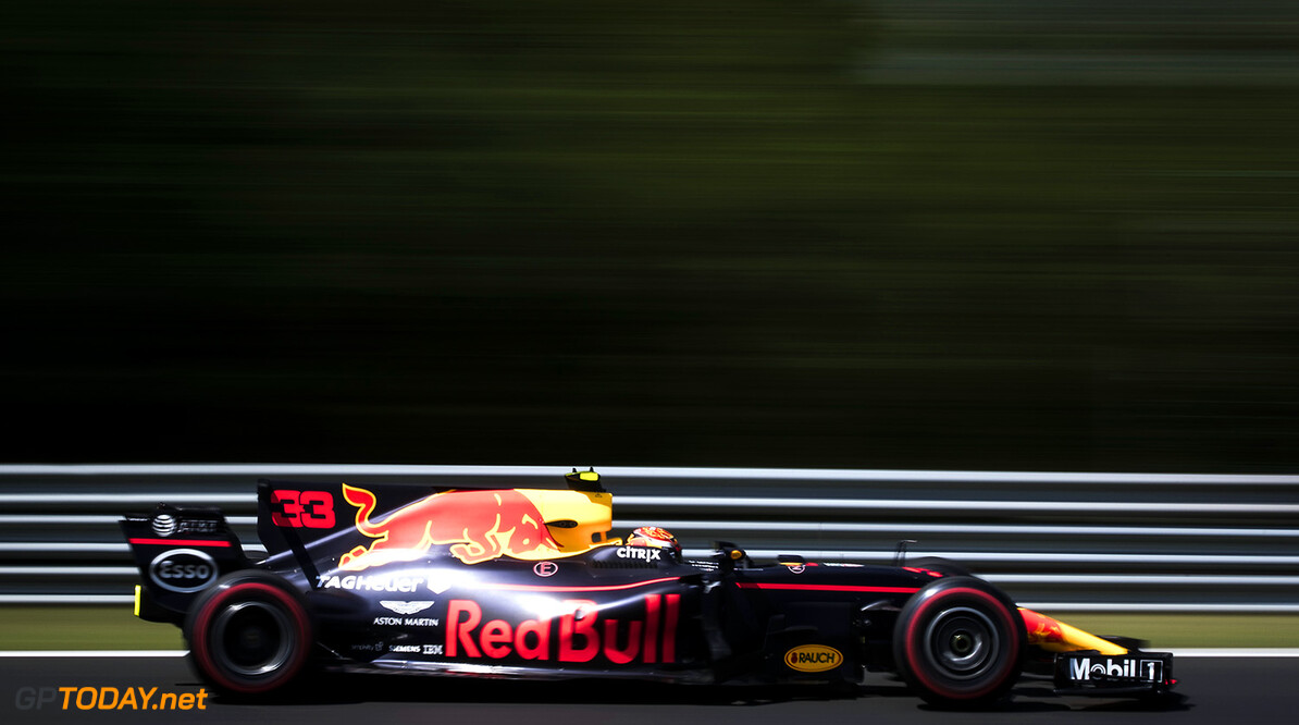 BUDAPEST, HUNGARY - JULY 28:  Max Verstappen of the Netherlands driving the (33) Red Bull Racing Red Bull-TAG Heuer RB13 TAG Heuer on track during practice for the Formula One Grand Prix of Hungary at Hungaroring on July 28, 2017 in Budapest, Hungary.  (Photo by Lars Baron/Getty Images) // Getty Images / Red Bull Content Pool  // P-20170728-01023 // Usage for editorial use only // Please go to www.redbullcontentpool.com for further information. //  F1 Grand Prix of Hungary - Practice  Budapest Hungary  P-20170728-01023