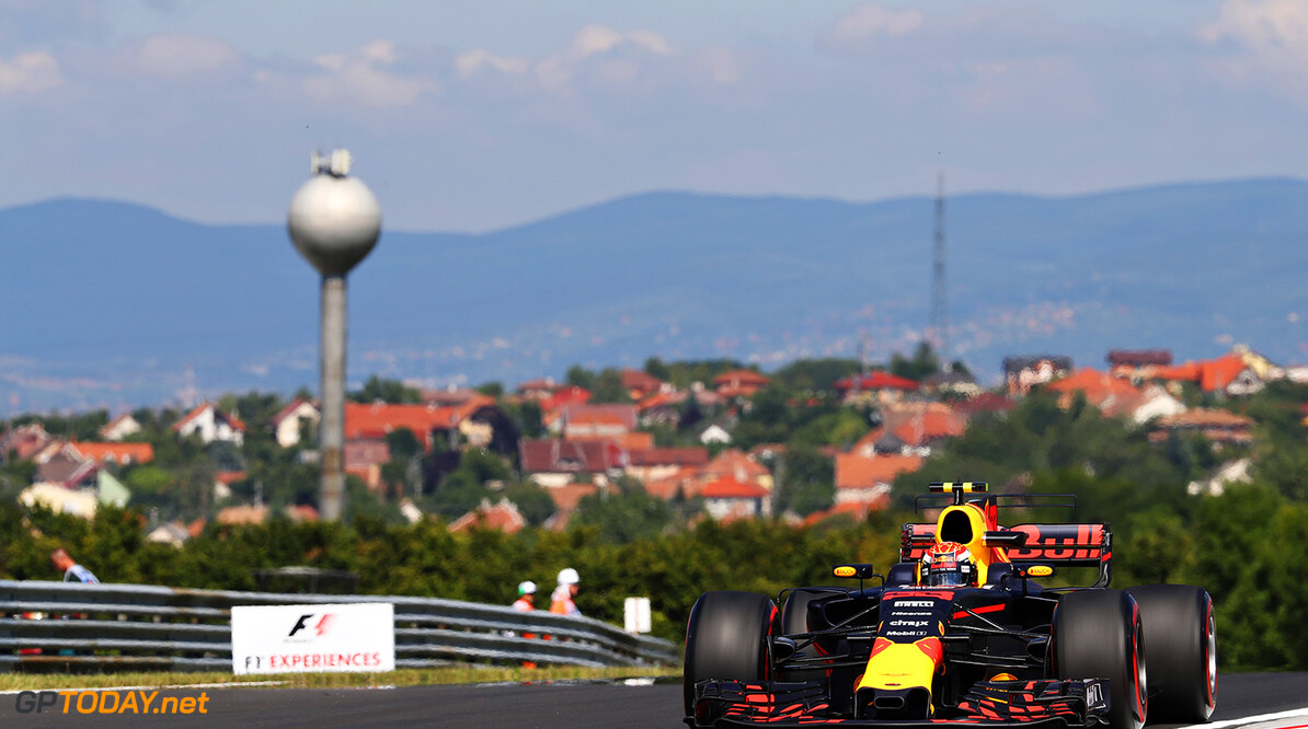 BUDAPEST, HUNGARY - JULY 28: Max Verstappen of the Netherlands driving the (33) Red Bull Racing Red Bull-TAG Heuer RB13 TAG Heuer on track during practice for the Formula One Grand Prix of Hungary at Hungaroring on July 28, 2017 in Budapest, Hungary.  (Photo by Mark Thompson/Getty Images) // Getty Images / Red Bull Content Pool  // P-20170728-00853 // Usage for editorial use only // Please go to www.redbullcontentpool.com for further information. //  F1 Grand Prix of Hungary - Practice  Budapest Hungary  P-20170728-00853