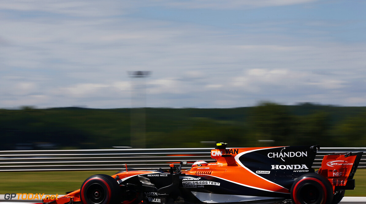 Silverstone, Northamptonshire, UK. Friday 28 July 2017. Stoffel Vandoorne, McLaren MCL32 Honda. Photo: Andrew Hone/McLaren ref: Digital Image _ONY9556      f1 formula 1 formula one gp grand prix Action