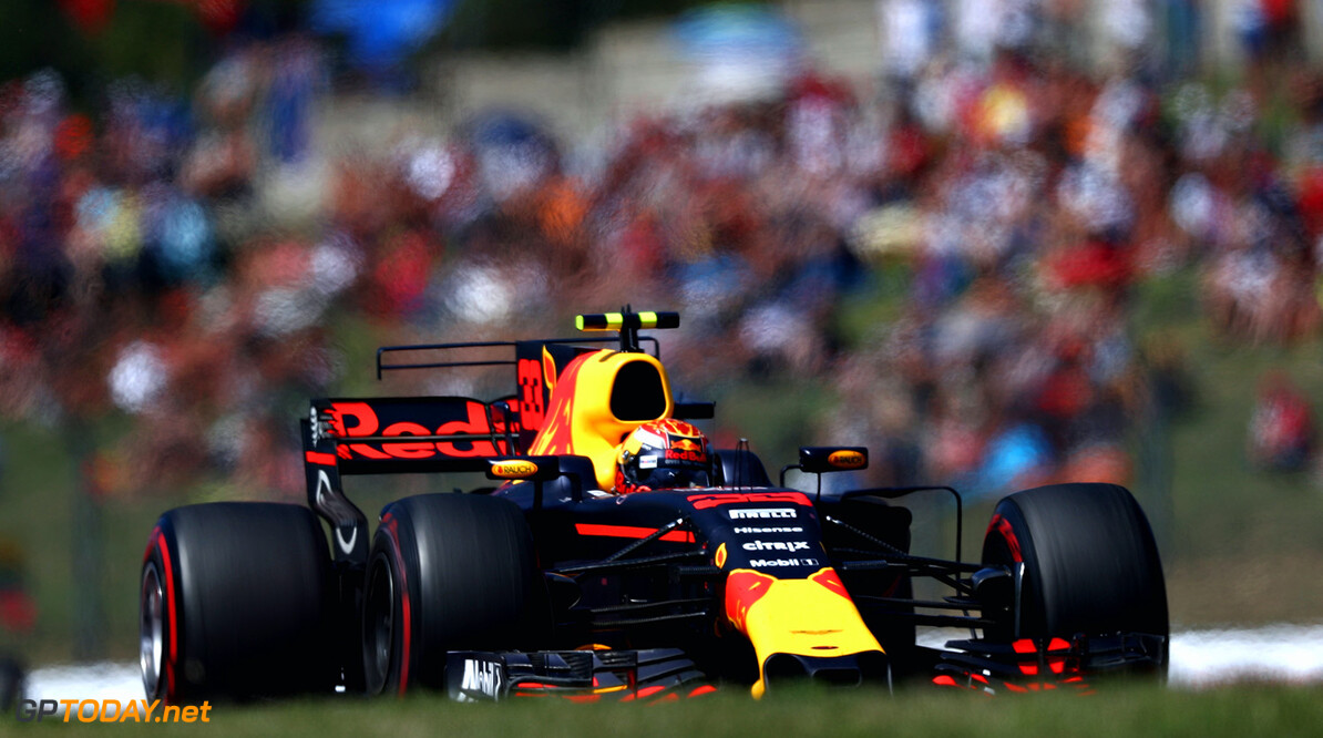 BUDAPEST, HUNGARY - JULY 30:  Max Verstappen of the Netherlands driving the (33) Red Bull Racing Red Bull-TAG Heuer RB13 TAG Heuer on track during the Formula One Grand Prix of Hungary at Hungaroring on July 30, 2017 in Budapest, Hungary.  (Photo by Lars Baron/Getty Images) // Getty Images / Red Bull Content Pool  // P-20170730-00570 // Usage for editorial use only // Please go to www.redbullcontentpool.com for further information. //  F1 Grand Prix of Hungary Lars Baron Budapest Hungary  P-20170730-00570