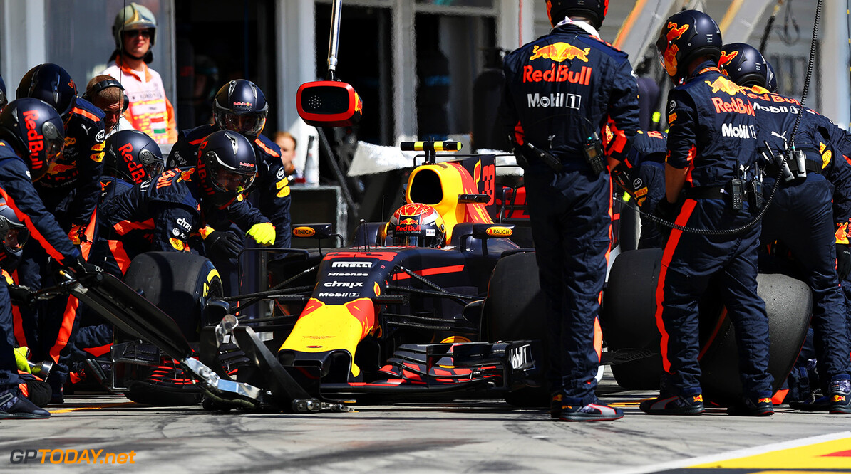 BUDAPEST, HUNGARY - JULY 30:  Max Verstappen of the Netherlands driving the (33) Red Bull Racing Red Bull-TAG Heuer RB13 TAG Heuer makes a pit stop for new tyres during the Formula One Grand Prix of Hungary at Hungaroring on July 30, 2017 in Budapest, Hungary.  (Photo by Mark Thompson/Getty Images) // Getty Images / Red Bull Content Pool  // P-20170730-01172 // Usage for editorial use only // Please go to www.redbullcontentpool.com for further information. //  F1 Grand Prix of Hungary  Budapest Hungary  P-20170730-01172