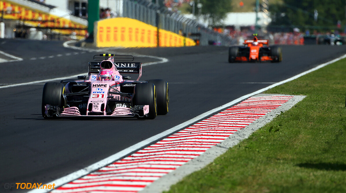 Formula One World Championship Esteban Ocon (FRA) Sahara Force India F1 VJM10. Hungarian Grand Prix, Sunday 30th July 2017. Budapest, Hungary. Motor Racing - Formula One World Championship - Hungarian Grand Prix - Race Day - Budapest, Hungary James Moy Photography Budapest Hungary  Formula One Formula 1 F1 GP Grand Prix Circuit Hungaroring Hungarian Budapest Hungary JM742 Action Track GP1711d GP1711d_M