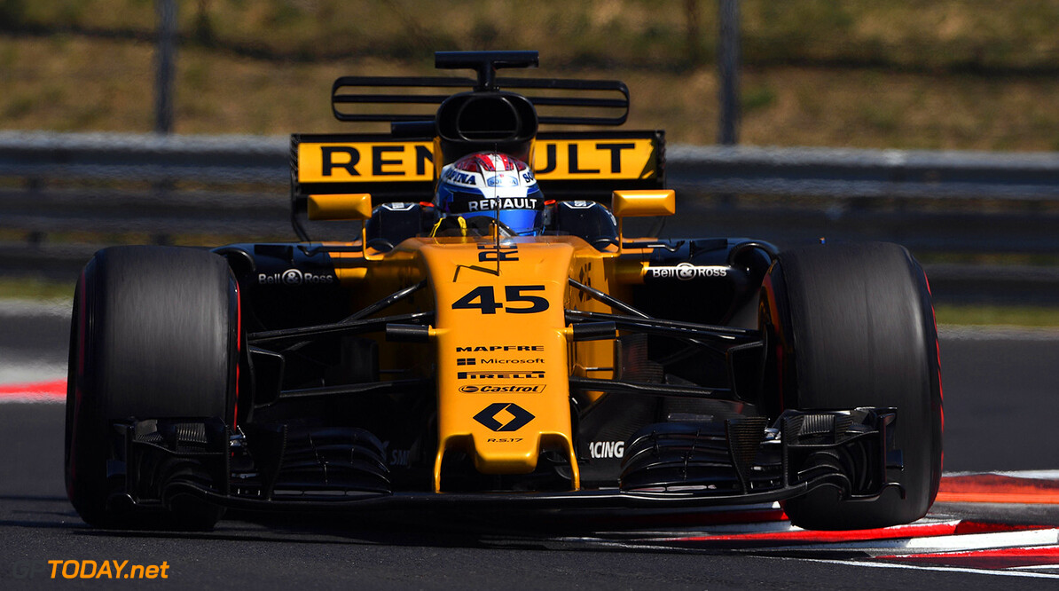 Formula One Testing www.sutton-images.com  Nicholas Latifi (CDN) Renault Sport F1 Team RS17 with aero sensors at Formula One Testing, Day One, Hungaroring, Hungary, Tuesday 1 August 2017. Hungarian F1 Testing  Hungaroring Hungary  F1 Formula 1 Test Hungarian action