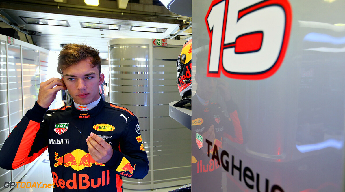 BUDAPEST, HUNGARY - AUGUST 02:  Pierre Gasly of France and Red Bull Racing prepares to drive in the garage during day two of F1 in season testing at Hungaroring on August 2, 2017 in Budapest, Hungary.  (Photo by Charles Coates/Getty Images) // Getty Images / Red Bull Content Pool  // P-20170802-00510 // Usage for editorial use only // Please go to www.redbullcontentpool.com for further information. //  F1 In-Season Testing In Budapest - Day Two Charles Coates Budapest Hungary  P-20170802-00510