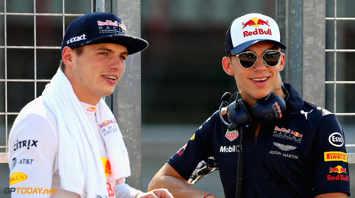 BUDAPEST, HUNGARY - AUGUST 01:  Max Verstappen of Netherlands and Red Bull Racing and Pierre Gasly of France and Red Bull Racing look on from the pit wall during day one of F1 in-season testing at Hungaroring on August 1, 2017 in Budapest, Hungary.  (Photo by Charles Coates/Getty Images) // Getty Images / Red Bull Content Pool  // P-20170802-00556 // Usage for editorial use only // Please go to www.redbullcontentpool.com for further information. //  F1 In-Season Testing In Budapest - Day One Charles Coates Budapest Hungary  P-20170802-00556