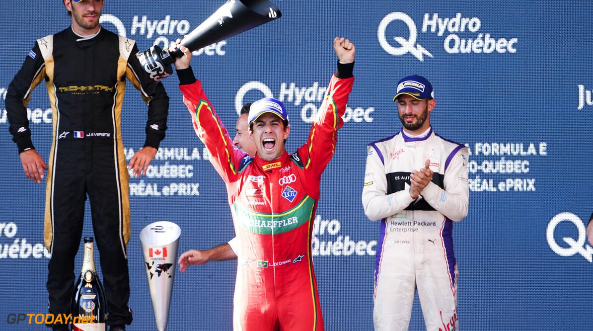 2016/2017 FIA Formula E Championship. Round 12 - Montreal ePrix, Canada Sunday 30 July 2017. Lucas Di Grassi (BRA), ABT Schaeffler Audi Sport, Spark-Abt Sportsline, ABT Schaeffler FE02, celebrates on the podium. Photo: Andrew Ferraro/LAT/Formula E ref: Digital Image _FER6430      CA fe formula e