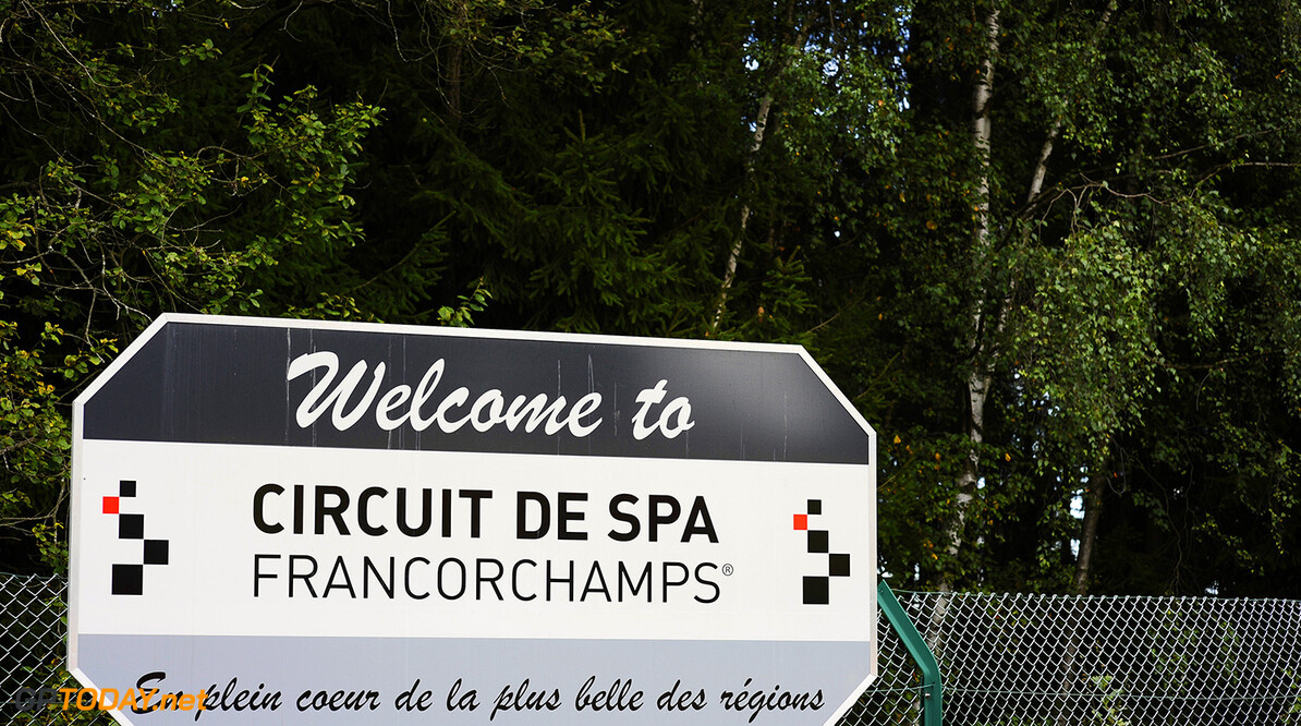 Signage. Formula One World Championship, Rd12, Belgian Grand Prix, Preparations, Spa-Francorchamps, Belgium, Thursday 30 August 2012.       F2 podium race