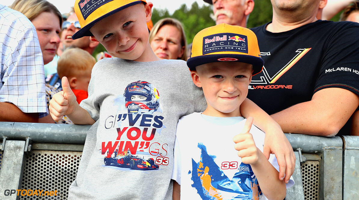 SPA, BELGIUM - AUGUST 24: Young Red Bull Racing fans look on during previews ahead of the Formula One Grand Prix of Belgium at Circuit de Spa-Francorchamps on August 24, 2017 in Spa, Belgium.  (Photo by Mark Thompson/Getty Images) // Getty Images / Red Bull Content Pool  // P-20170824-01548 // Usage for editorial use only // Please go to www.redbullcontentpool.com for further information. //  F1 Grand Prix of Belgium - Previews Mark Thompson Spa Belgium  P-20170824-01548