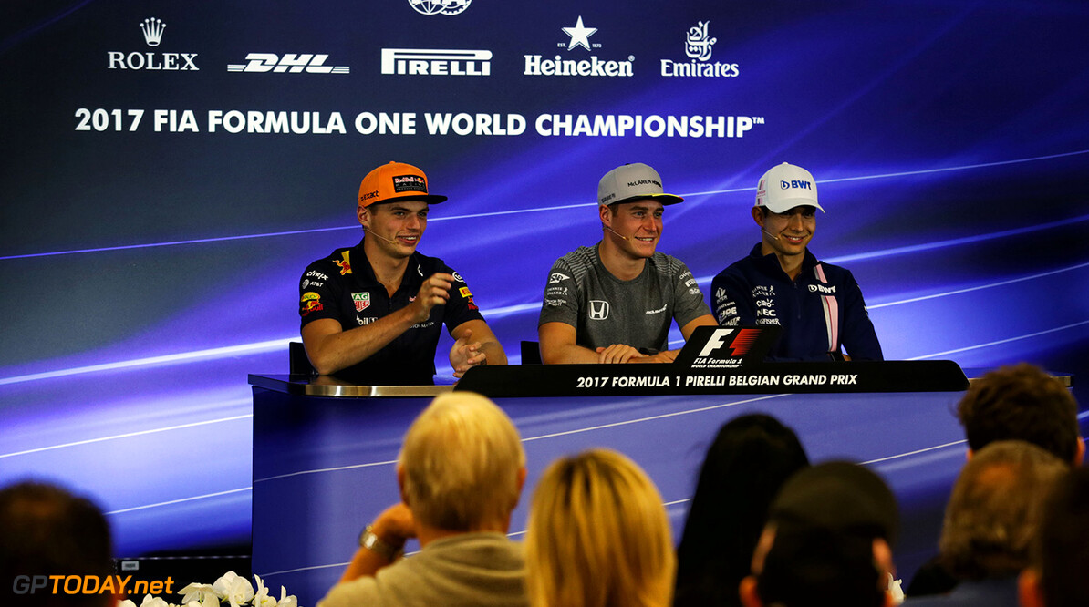 Formula One World Championship The FIA Press Conference (L to R): Max Verstappen (NLD) Red Bull Racing; Stoffel Vandoorne (BEL) McLaren; Esteban Ocon (FRA) Sahara Force India F1 Team. Belgian Grand Prix, Thursday 24th August 2017. Spa-Francorchamps, Belgium. Motor Racing - Formula One World Championship - Belgian Grand Prix - Preparation Day - Spa Francorchamps, Belgium James Moy Photography Spa Francorchamps Belgium  Formula One Formula 1 F1 GP Grand Prix Circuit Belgium Belgian Spa-Francorchamps Spa Francorchamps Spa Francorchamps JM745 Press Conference Portrait GP1712a GP1712a_M