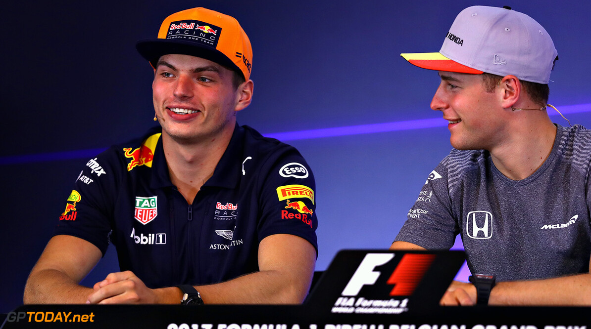SPA, BELGIUM - AUGUST 24:  Max Verstappen of Netherlands and Red Bull Racing talks in the Drivers Press Conference during previews ahead of the Formula One Grand Prix of Belgium at Circuit de Spa-Francorchamps on August 24, 2017 in Spa, Belgium.  (Photo by Dan Istitene/Getty Images) // Getty Images / Red Bull Content Pool  // P-20170824-00893 // Usage for editorial use only // Please go to www.redbullcontentpool.com for further information. //  F1 Grand Prix of Belgium - Previews Dan Istitene Spa Belgium  P-20170824-00893