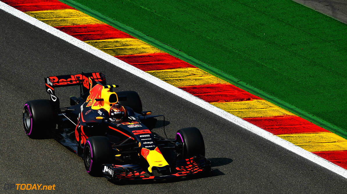 SPA, BELGIUM - AUGUST 25: Max Verstappen of the Netherlands driving the (33) Red Bull Racing Red Bull-TAG Heuer RB13 TAG Heuer on track during practice for the Formula One Grand Prix of Belgium at Circuit de Spa-Francorchamps on August 25, 2017 in Spa, Belgium.  (Photo by Dan Mullan/Getty Images) // Getty Images / Red Bull Content Pool  // P-20170825-00792 // Usage for editorial use only // Please go to www.redbullcontentpool.com for further information. //  F1 Grand Prix of Belgium - Practice Dan Mullan Spa Belgium  P-20170825-00792