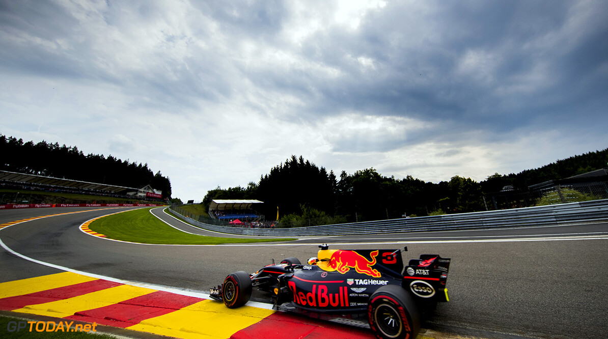 SPA, BELGIUM - AUGUST 25: Daniel Ricciardo of Australia driving the (3) Red Bull Racing Red Bull-TAG Heuer RB13 TAG Heuer on track during practice for the Formula One Grand Prix of Belgium at Circuit de Spa-Francorchamps on August 25, 2017 in Spa, Belgium.  (Photo by Mark Thompson/Getty Images) // Getty Images / Red Bull Content Pool  // P-20170825-01854 // Usage for editorial use only // Please go to www.redbullcontentpool.com for further information. //  F1 Grand Prix of Belgium - Practice  Spa Belgium  P-20170825-01854