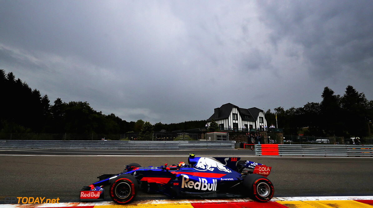 SPA, BELGIUM - AUGUST 25: Carlos Sainz of Spain driving the (55) Scuderia Toro Rosso STR12 on track during practice for the Formula One Grand Prix of Belgium at Circuit de Spa-Francorchamps on August 25, 2017 in Spa, Belgium.  (Photo by Mark Thompson/Getty Images) // Getty Images / Red Bull Content Pool  // P-20170825-01466 // Usage for editorial use only // Please go to www.redbullcontentpool.com for further information. //  F1 Grand Prix of Belgium - Practice Mark Thompson Spa Belgium  P-20170825-01466