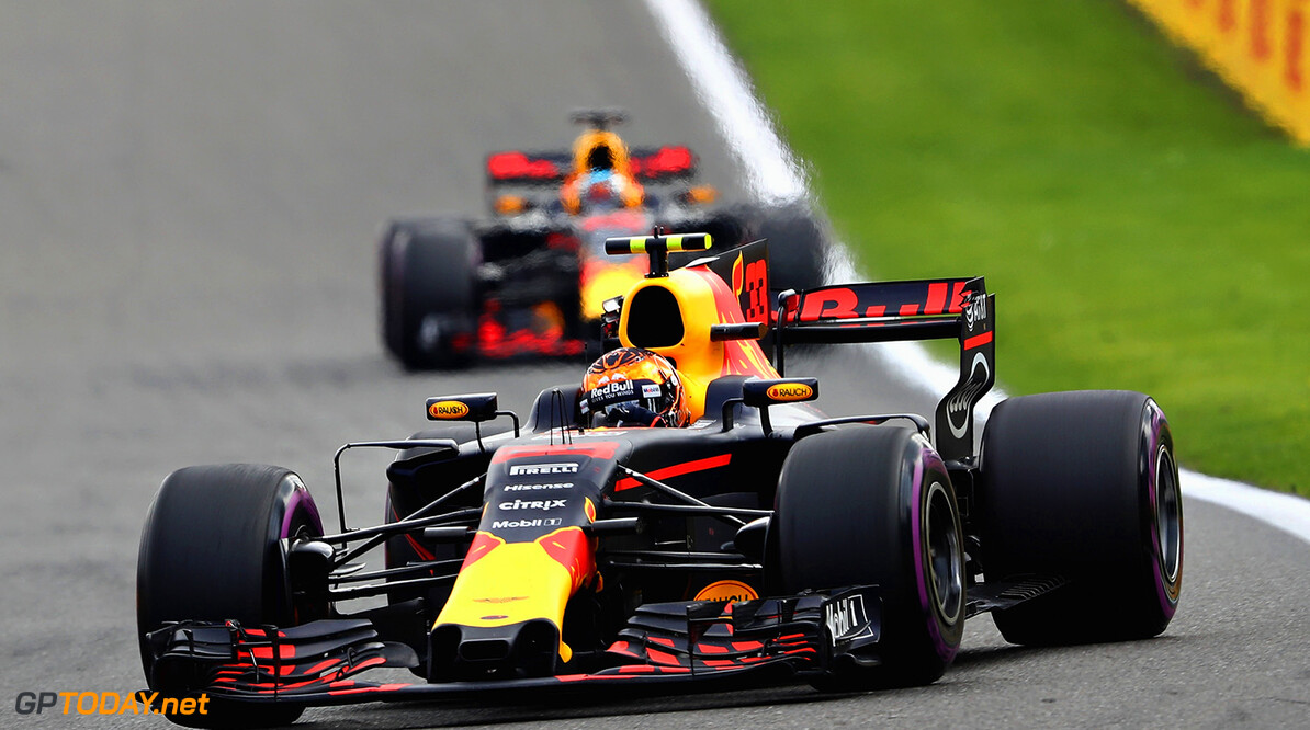 SPA, BELGIUM - AUGUST 27: Max Verstappen of the Netherlands driving the (33) Red Bull Racing Red Bull-TAG Heuer RB13 TAG Heuer leads Daniel Ricciardo of Australia driving the (3) Red Bull Racing Red Bull-TAG Heuer RB13 TAG Heuer on track during the Formula One Grand Prix of Belgium at Circuit de Spa-Francorchamps on August 27, 2017 in Spa, Belgium.  (Photo by Mark Thompson/Getty Images) // Getty Images / Red Bull Content Pool  // P-20170827-10503 // Usage for editorial use only // Please go to www.redbullcontentpool.com for further information. //  F1 Grand Prix of Belgium Mark Thompson Spa Belgium  P-20170827-10503