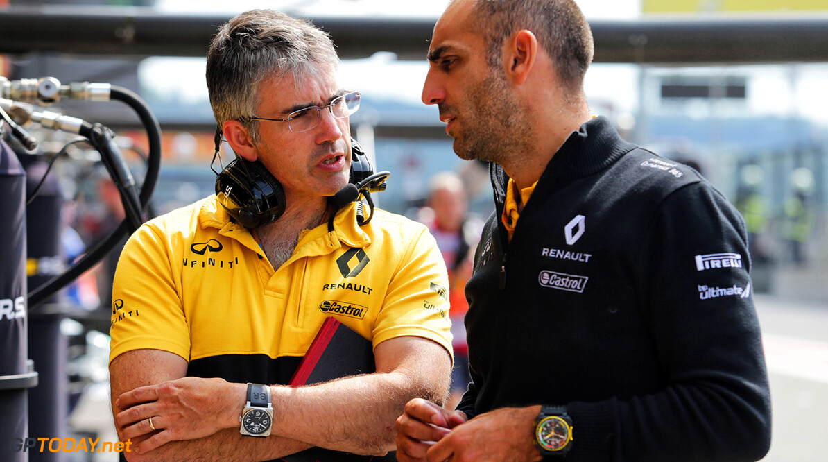 Formula One World Championship (L to R): Nick Chester (GBR) Renault Sport F1 Team Chassis Technical Director with Cyril Abiteboul (FRA) Renault Sport F1 Managing Director. Belgian Grand Prix, Saturday 26th August 2017. Spa-Francorchamps, Belgium. Motor Racing - Formula One World Championship - Belgian Grand Prix - Qualifying Day - Spa Francorchamps, Belgium Renault Sport Formula One Team Spa Francorchamps Belgium  Formula One Formula 1 F1 GP Grand Prix Circuit Belgium Belgian Spa-Francorchamps Spa Francorchamps Spa Francorchamps JM747 Portrait GP1712c
