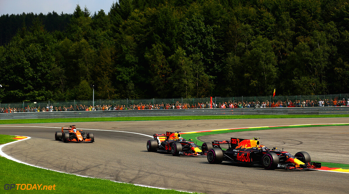SPA, BELGIUM - AUGUST 27: Max Verstappen of the Netherlands driving the (33) Red Bull Racing Red Bull-TAG Heuer RB13 TAG Heuer leads Daniel Ricciardo of Australia driving the (3) Red Bull Racing Red Bull-TAG Heuer RB13 TAG Heuer on track during the Formula One Grand Prix of Belgium at Circuit de Spa-Francorchamps on August 27, 2017 in Spa, Belgium.  (Photo by Dan Istitene/Getty Images) // Getty Images / Red Bull Content Pool  // P-20170827-08498 // Usage for editorial use only // Please go to www.redbullcontentpool.com for further information. //  F1 Grand Prix of Belgium Dan Istitene Spa Belgium  P-20170827-08498