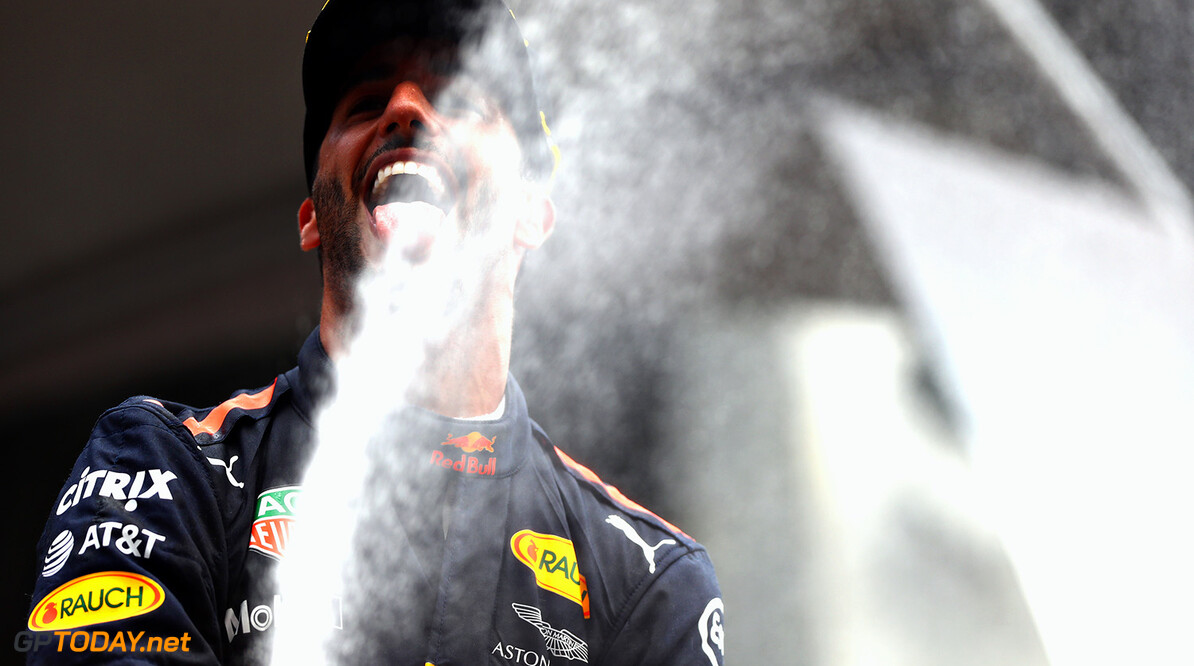 SPA, BELGIUM - AUGUST 27:  Daniel Ricciardo of Australia and Red Bull Racing celebrates finishing in third place during the Formula One Grand Prix of Belgium at Circuit de Spa-Francorchamps on August 27, 2017 in Spa, Belgium.  (Photo by Dan Istitene/Getty Images) // Getty Images / Red Bull Content Pool  // P-20170827-09864 // Usage for editorial use only // Please go to www.redbullcontentpool.com for further information. //  F1 Grand Prix of Belgium Dan Istitene Spa Belgium  P-20170827-09864