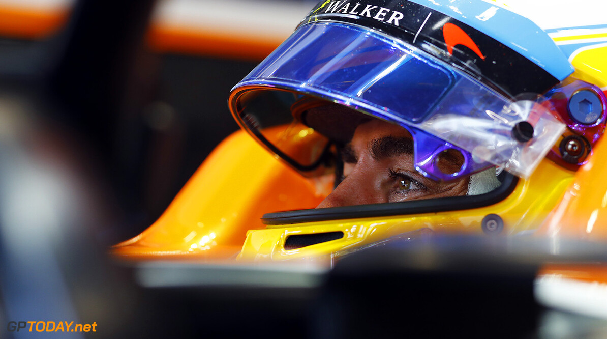 Spa Francorchamps, Belgium.  Friday 25 August 2017. Fernando Alonso, McLaren. Photo: Steven Tee/McLaren ref: Digital Image _R3I8987  Steven Tee    f1 formula 1 formula one gp grand prix Portrait Helmets