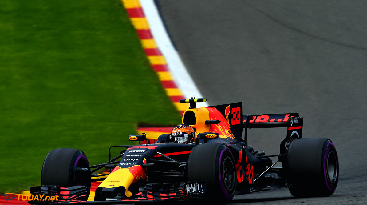 SPA, BELGIUM - AUGUST 27: Max Verstappen of the Netherlands driving the (33) Red Bull Racing Red Bull-TAG Heuer RB13 TAG Heuer on track during the Formula One Grand Prix of Belgium at Circuit de Spa-Francorchamps on August 27, 2017 in Spa, Belgium.  (Photo by Dan Mullan/Getty Images) // Getty Images / Red Bull Content Pool  // P-20170827-07749 // Usage for editorial use only // Please go to www.redbullcontentpool.com for further information. //  F1 Grand Prix of Belgium Dan Mullan Spa Belgium  P-20170827-07749