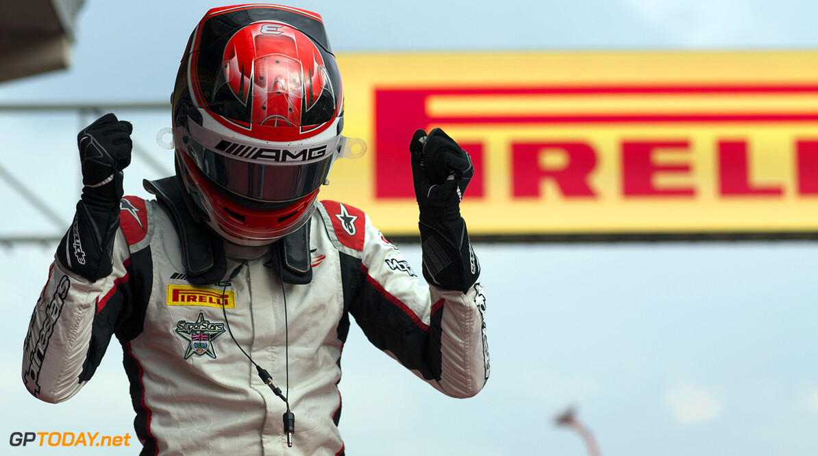 2017 GP3 Series Round 5.  Spa-Francorchamps, Spa, Belgium. Saturday 26 August 2017. George Russell (GBR, ART Grand Prix) celebrates his victory.  Photo: Alastair Staley/GP3 Series Media Service. ref: Digital Image _L5R5368   Alastair Staley    Race One 1
