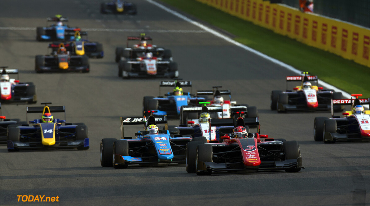 2017 GP3 Series Round 5.  Spa-Francorchamps, Spa, Belgium. Saturday 26 August 2017. George Russell (GBR, ART Grand Prix). leads the field into turn one.  Photo: Alastair Staley/GP3 Series Media Service. ref: Digital Image _L5R4949   Alastair Staley    Race One 1