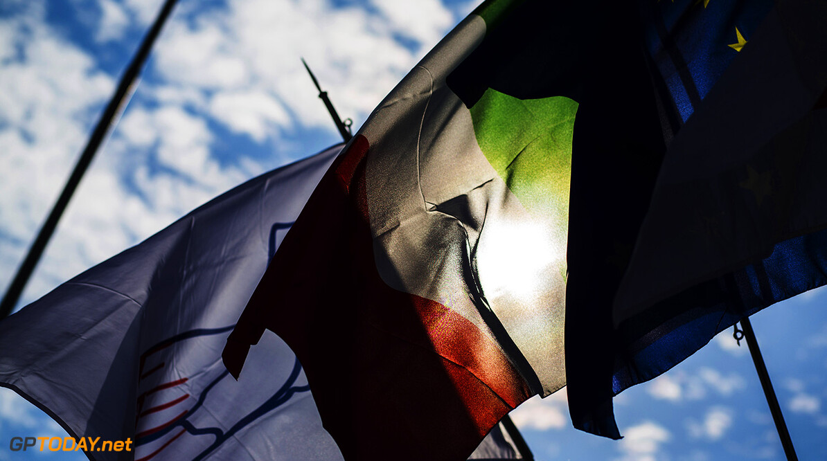2016 GP3 Series Round 7 Autodromo di Monza, Italy. Thursday 1 September 2016. The flags of Monza, Italy and Europe. Photo: Sam Bloxham/GP3 Series Media Service. ref: Digital Image _SBB6677  Sam Bloxham    Preview