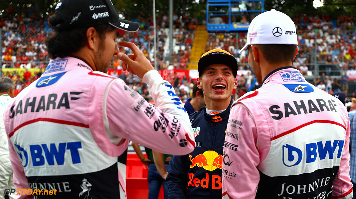 MONZA, ITALY - AUGUST 31:  Max Verstappen of Netherlands and Red Bull Racing talks with Esteban Ocon of France and Force India and Sergio Perez of Mexico and Force India at a karting event during previews for the Formula One Grand Prix of Italy at Autodromo di Monza on August 31, 2017 in Monza, Italy.  (Photo by Dan Istitene/Getty Images) // Getty Images / Red Bull Content Pool  // P-20170831-12732 // Usage for editorial use only // Please go to www.redbullcontentpool.com for further information. //  F1 Grand Prix of Italy - Previews Dan Istitene Monza Italy  P-20170831-12732