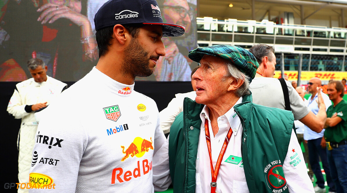 MONZA, ITALY - AUGUST 31:  Daniel Ricciardo of Australia and Red Bull Racing and Sir Jackie Stewart talk at a karting event during previews for the Formula One Grand Prix of Italy at Autodromo di Monza on August 31, 2017 in Monza, Italy.  (Photo by Dan Istitene/Getty Images) // Getty Images / Red Bull Content Pool  // P-20170831-12750 // Usage for editorial use only // Please go to www.redbullcontentpool.com for further information. //  F1 Grand Prix of Italy - Previews Dan Istitene Monza Italy  P-20170831-12750