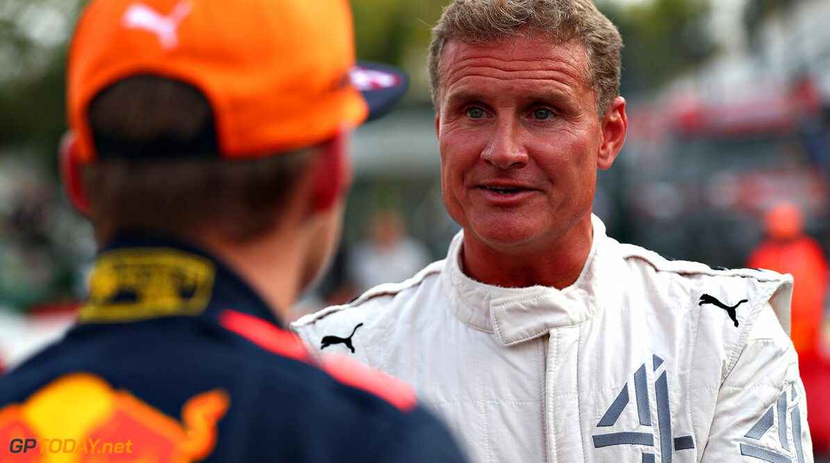 MONZA, ITALY - AUGUST 31:  Max Verstappen of Netherlands and Red Bull Racing talks with David Coulthard at a karting event during previews for the Formula One Grand Prix of Italy at Autodromo di Monza on August 31, 2017 in Monza, Italy.  (Photo by Dan Istitene/Getty Images) // Getty Images / Red Bull Content Pool  // P-20170831-12774 // Usage for editorial use only // Please go to www.redbullcontentpool.com for further information. //  F1 Grand Prix of Italy - Previews Dan Istitene Monza Italy  P-20170831-12774