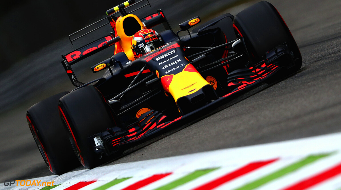 MONZA, ITALY - SEPTEMBER 01: Max Verstappen of the Netherlands driving the (33) Red Bull Racing Red Bull-TAG Heuer RB13 TAG Heuer on track during practice for the Formula One Grand Prix of Italy at Autodromo di Monza on September 1, 2017 in Monza, Italy.  (Photo by Dan Istitene/Getty Images) // Getty Images / Red Bull Content Pool  // P-20170901-01961 // Usage for editorial use only // Please go to www.redbullcontentpool.com for further information. //  F1 Grand Prix of Italy - Practice Dan Istitene Monza Italy  P-20170901-01961