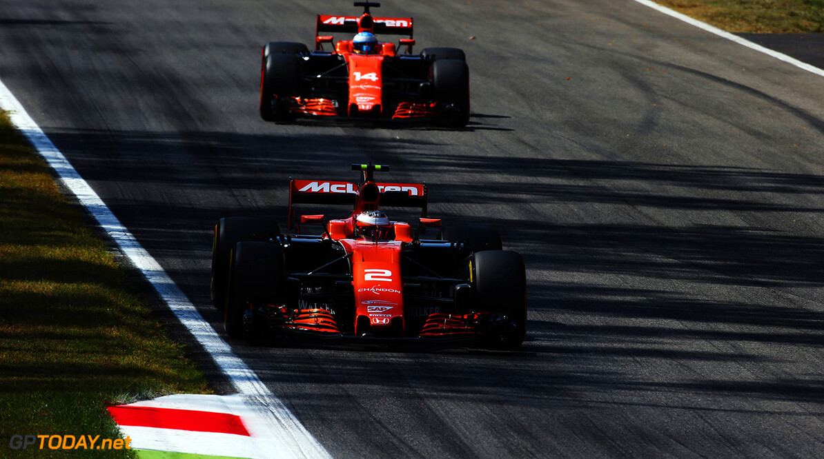 Autodromo Nazionale di Monza, Italy. Friday 1 September 2017. Stoffel Vandoorne, McLaren MCL32 Honda, leads Fernando Alonso, McLaren MCL32 Honda. Photo: Charles Coates/McLaren ref: Digital Image AN7T7194      f1 formula 1 formula one gp grand prix Action