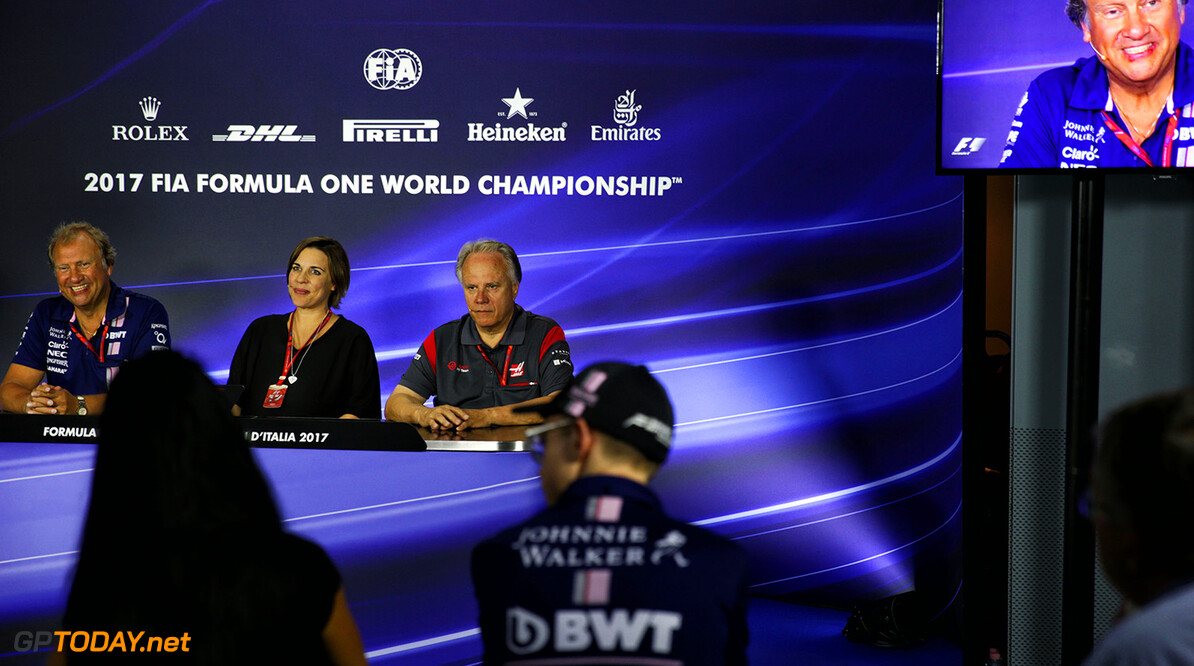 Formula One World Championship (L to R): Robert Fernley (GBR) Sahara Force India F1 Team Deputy Team Principal; Claire Williams (GBR) Williams Deputy Team Principal; and Gene Haas (USA) Haas Automotion President; in the FIA Press Conference. Italian Grand Prix, Friday 1st September 2017. Monza Italy. Motor Racing - Formula One World Championship - Italian Grand Prix - Practice Day - Monza, Italy James Moy Photography Monza Italy  Formula One Formula 1 F1 GP Grand Prix Circuit Italy Italian Monza Autodromo di Monza JM751 Press Conference Portrait GP1713b GP1713b_M