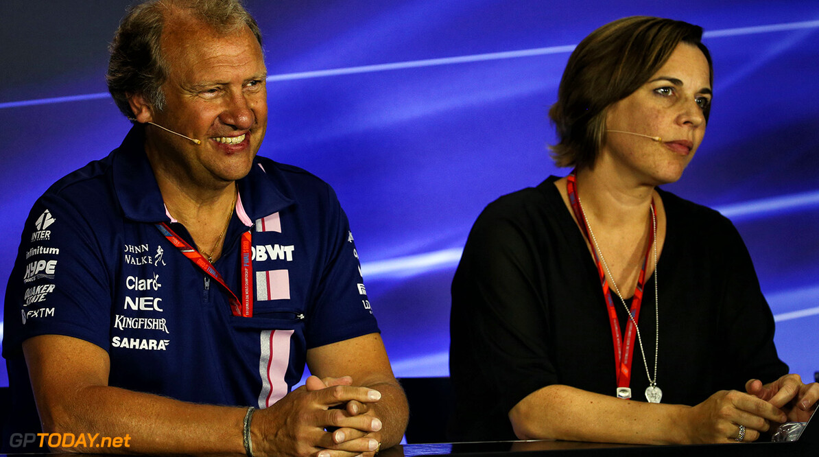 Formula One World Championship (L to R): Robert Fernley (GBR) Sahara Force India F1 Team Deputy Team Principal and Claire Williams (GBR) Williams Deputy Team Principal in the FIA Press Conference. Italian Grand Prix, Friday 1st September 2017. Monza Italy. Motor Racing - Formula One World Championship - Italian Grand Prix - Practice Day - Monza, Italy James Moy Photography Monza Italy  Formula One Formula 1 F1 GP Grand Prix Circuit Italy Italian Monza Autodromo di Monza JM751 Press Conference Portrait GP1713b GP1713b_M