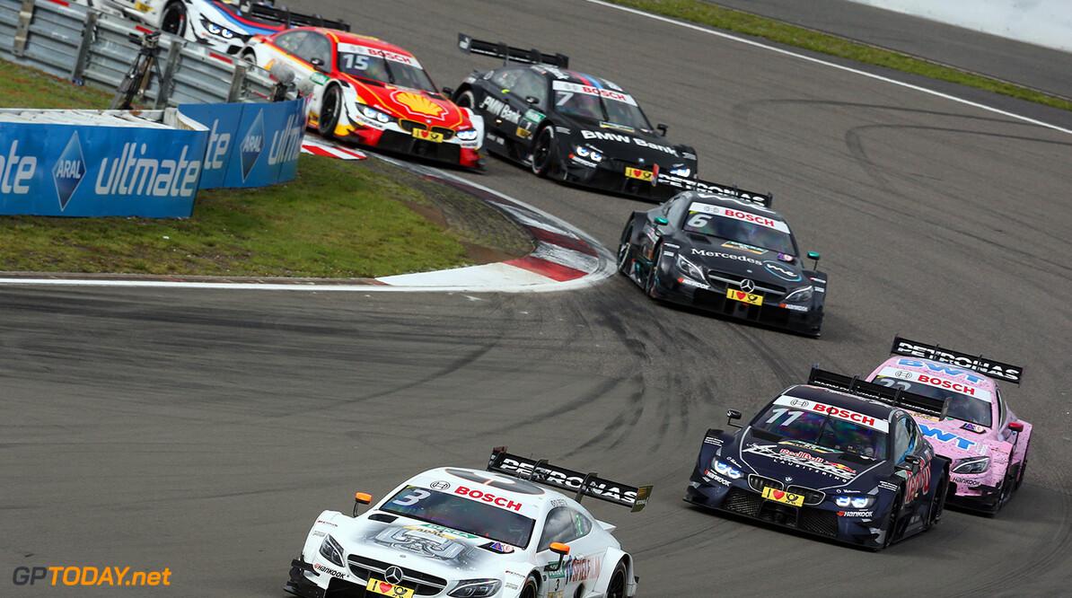 #3 Paul Di Resta, Mercedes-AMG C 63 DTM, #11 Marco Wittmann, BMW M4 DTM Motorsports: DTM race Nuerburgring Gruppe C / Hoch Zwei    Aktion action Fahraufnahme Fahrszene Motorsport DTM Rennen race Rennszene VersandPartnerDTM VersandPartnerStandard race action
