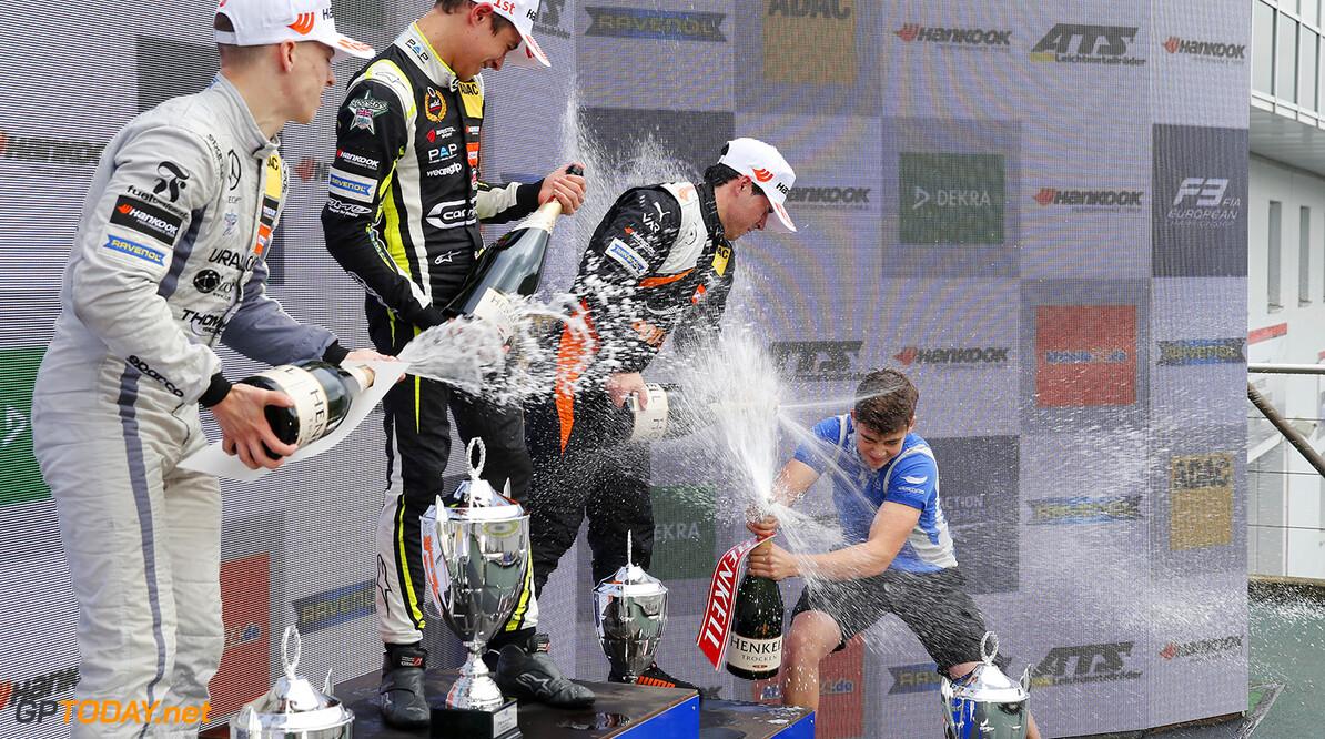 FIA Formula 3 European Championship, round 8, race 1, N?rburgri Press conference, 34 Jake Hughes (GBR, Hitech Grand Prix, Dallara F317 - Mercedes-Benz), 31 Lando Norris (GBR, Carlin, Dallara F317 - Volkswagen), 96 Joey Mawson (AUS, Van Amersfoort Racing, Dallara F317 - Mercedes-Benz), FIA Formula 3 European Championship, round 8, race 1, N?rburgring (DEU), 8. - 10. September 2017 FIA Formula 3 European Championship 2017, round 8, race 1, N?rburgring (DEU) Thomas Suer N?rburgring Germany