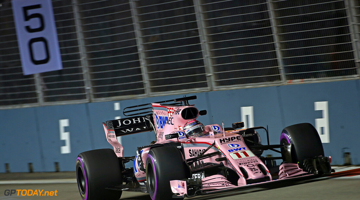 Formula One World Championship Sergio Perez (MEX) Sahara Force India F1 VJM10. Singapore Grand Prix, Friday 15th September 2017. Marina Bay Street Circuit, Singapore. Motor Racing - Formula One World Championship - Singapore Grand Prix - Practice Day - Singapore, Singapore James Moy Photography Singapore Singapore  Formula One Formula 1 F1 GP Grand Prix Circuit Marina Bay Street Circuit Singapore JM757 Sergio P?rez Sergio P?rez Mendoza Checo Perez Checo P?rez Action Track GP1714b GP1714b_M