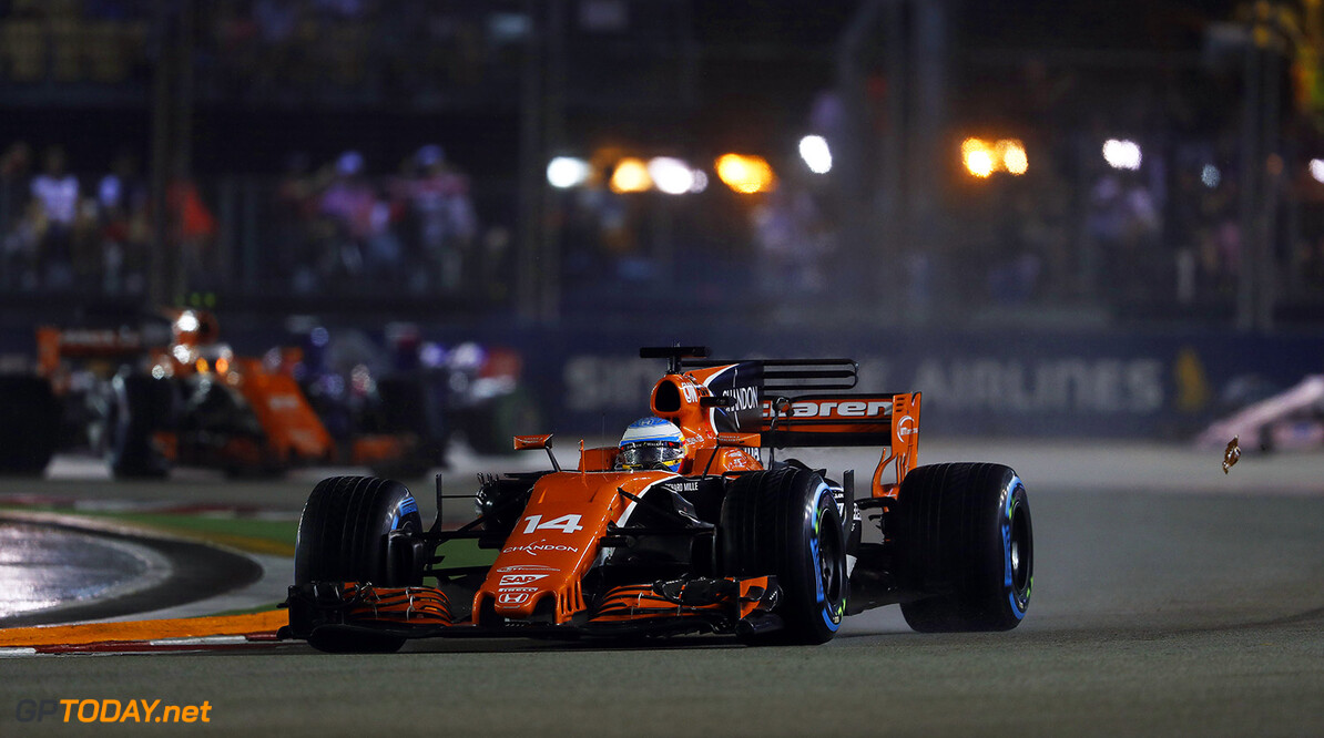 Marina Bay Circuit, Marina Bay, Singapore. Sunday 17 September 2017. Fernando Alonso, McLaren MCL32 Honda.  Photo: Glenn Dunbar/McLaren ref: Digital Image _X4I8556  Glenn Dunbar    f1 formula 1 formula one gp grand prix Action
