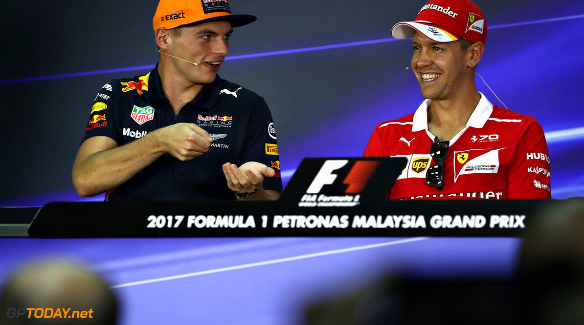 KUALA LUMPUR, MALAYSIA - SEPTEMBER 28:  The Drivers Press Conference with Sebastian Vettel of Germany and Ferrari and Max Verstappen of Netherlands and Red Bull Racing during previews for the Malaysia Formula One Grand Prix at Sepang Circuit on September 28, 2017 in Kuala Lumpur, Malaysia.  (Photo by Lars Baron/Getty Images) // Getty Images / Red Bull Content Pool  // P-20170928-00309 // Usage for editorial use only // Please go to www.redbullcontentpool.com for further information. //  F1 Grand Prix of Malaysia - Previews Lars Baron Sepang Malaysia  P-20170928-00309