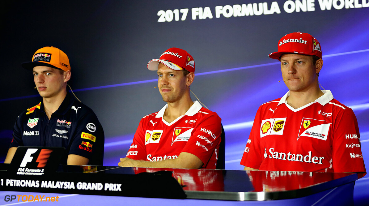 KUALA LUMPUR, MALAYSIA - SEPTEMBER 28:  The Drivers Press Conference with Max Verstappen of Netherlands and Red Bull Racing, Sebastian Vettel of Germany and Ferrari and Kimi Raikkonen of Finland and Ferrari during previews for the Malaysia Formula One Grand Prix at Sepang Circuit on September 28, 2017 in Kuala Lumpur, Malaysia.  (Photo by Mark Thompson/Getty Images) // Getty Images / Red Bull Content Pool  // P-20170928-00274 // Usage for editorial use only // Please go to www.redbullcontentpool.com for further information. //  F1 Grand Prix of Malaysia - Previews Mark Thompson Sepang Malaysia  P-20170928-00274