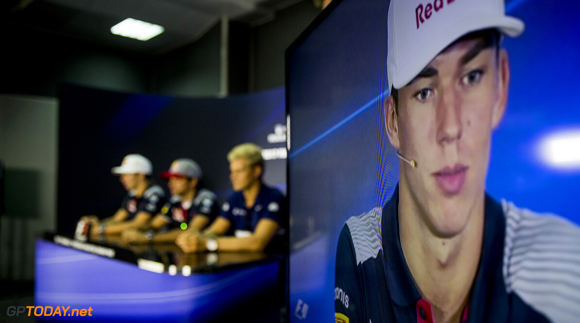 KUALA LUMPUR, MALAYSIA - SEPTEMBER 28:  Pierre Gasly of France and Scuderia Toro Rosso is shown on a screen in the Drivers Press Conference during previews for the Malaysia Formula One Grand Prix at Sepang Circuit on September 28, 2017 in Kuala Lumpur, Malaysia.  (Photo by Mark Thompson/Getty Images) // Getty Images / Red Bull Content Pool  // P-20170928-00400 // Usage for editorial use only // Please go to www.redbullcontentpool.com for further information. //  F1 Grand Prix of Malaysia - Previews  Sepang Malaysia  P-20170928-00400