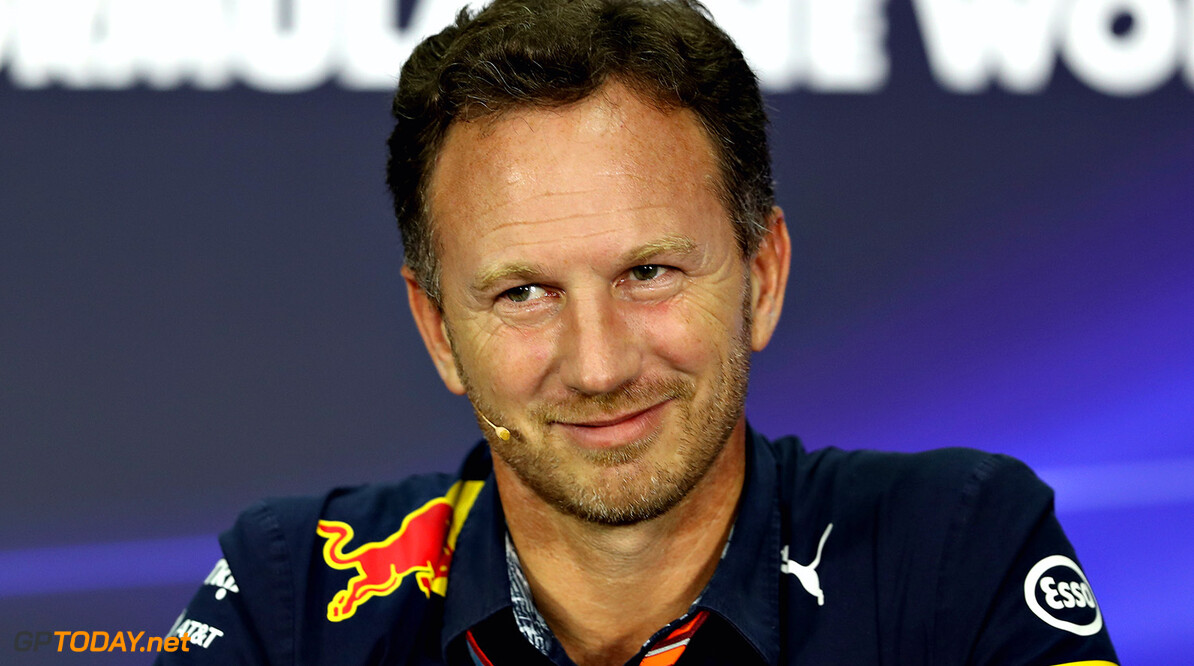 KUALA LUMPUR, MALAYSIA - SEPTEMBER 29:  Red Bull Racing Team Principal Christian Horner in the Team Principals Press Conference during practice for the Malaysia Formula One Grand Prix at Sepang Circuit on September 29, 2017 in Kuala Lumpur, Malaysia.  (Photo by Mark Thompson/Getty Images) // Getty Images / Red Bull Content Pool  // P-20170929-00875 // Usage for editorial use only // Please go to www.redbullcontentpool.com for further information. //  F1 Grand Prix of Malaysia - Practice Mark Thompson Sepang Malaysia  P-20170929-00875