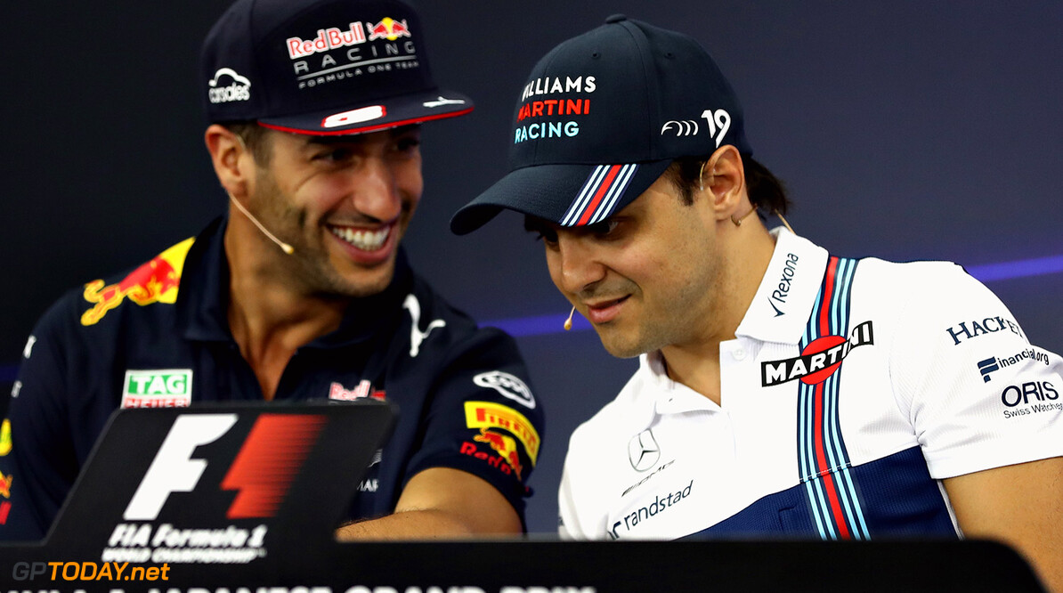 SUZUKA, JAPAN - OCTOBER 05:  Daniel Ricciardo of Australia and Red Bull Racing and Felipe Massa of Brazil and Williams in the Drivers Press Conference during previews ahead of the Formula One Grand Prix of Japan at Suzuka Circuit on October 5, 2017 in Suzuka.  (Photo by Lars Baron/Getty Images) // Getty Images / Red Bull Content Pool  // P-20171005-00245 // Usage for editorial use only // Please go to www.redbullcontentpool.com for further information. //  F1 Grand Prix of Japan - Previews Lars Baron Suzuka Japan  P-20171005-00245