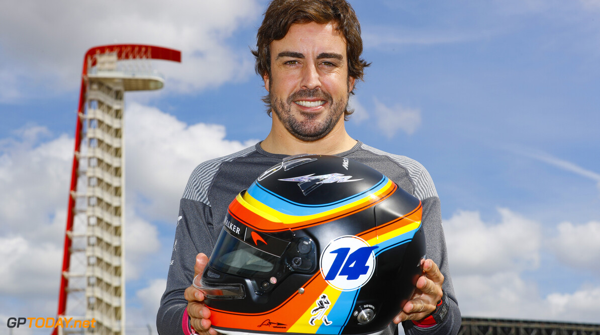 Circuit of the Americas, Austin, Texas, United States of America. Thursday 19 October 2017. Fernando Alonso, McLaren, with his Indy 500 helmet design he also wears for the US Grand Prix. Photo: Steven Tee/McLaren ref: Digital Image _O3I1283  Steven Tee    f1 formula 1 formula one gp grand prix Portrait Helmets