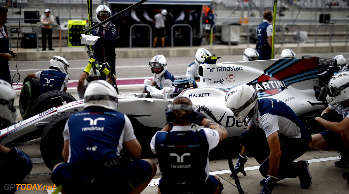 Circuit of the Americas, Austin, Texas, United States of America. Friday 20 October 2017. Lance Stroll, Williams FW40 Mercedes, in the pits. Photo: Glenn Dunbar/Williams ref: Digital Image _31I0702  Glenn Dunbar    f1 formula 1 formula one gp Action Pit Stops