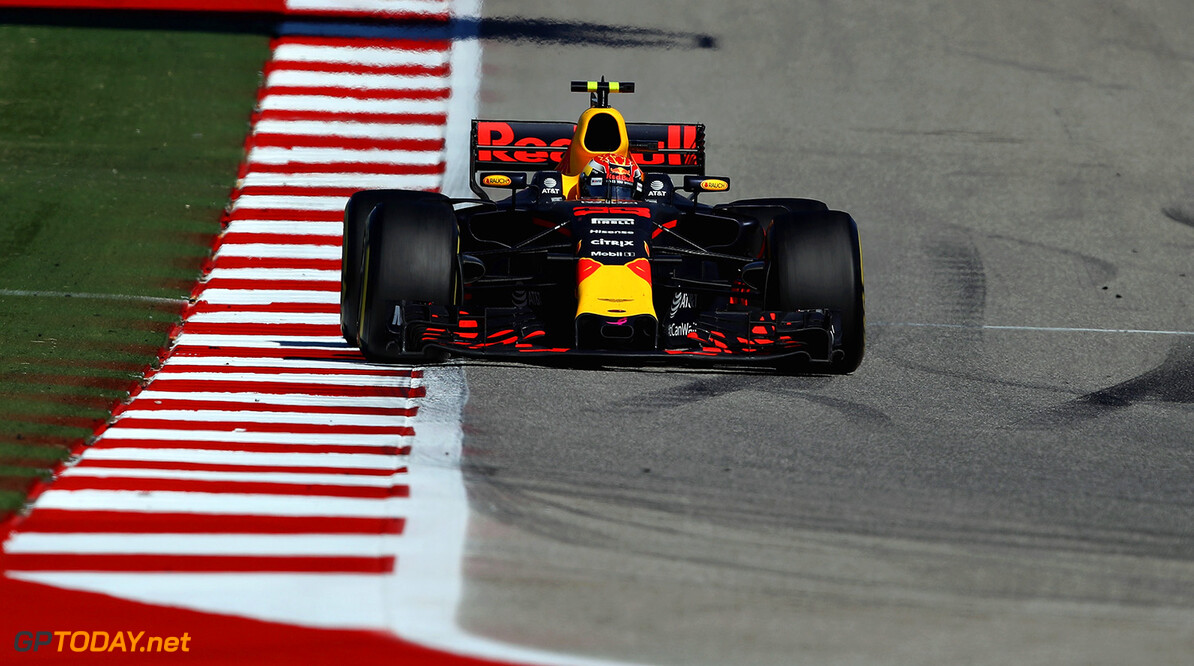 AUSTIN, TX - OCTOBER 22: Max Verstappen of the Netherlands driving the (33) Red Bull Racing Red Bull-TAG Heuer RB13 TAG Heuer on track during the United States Formula One Grand Prix at Circuit of The Americas on October 22, 2017 in Austin, Texas.  (Photo by Clive Mason/Getty Images) // Getty Images / Red Bull Content Pool  // P-20171022-01741 // Usage for editorial use only // Please go to www.redbullcontentpool.com for further information. //  F1 Grand Prix of USA Clive Mason Austin United States  P-20171022-01741